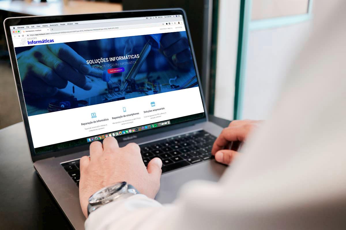 O site da Soluções Informáticas foi criado pela BEHS – Criação de Sites e lojas online